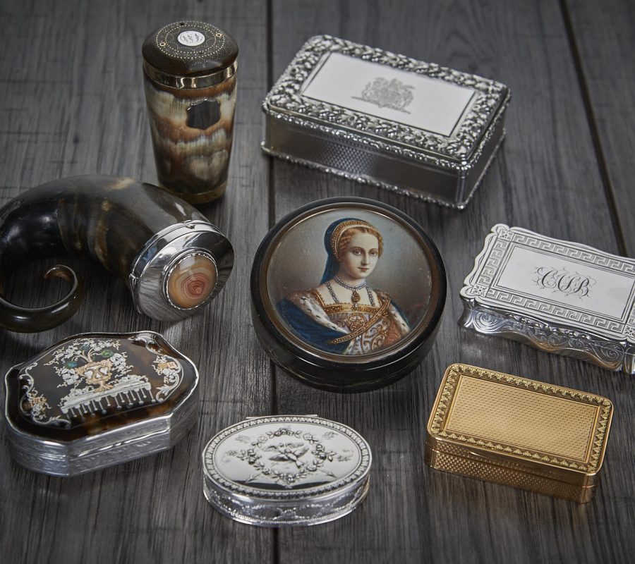Old fashioned snuff boxes