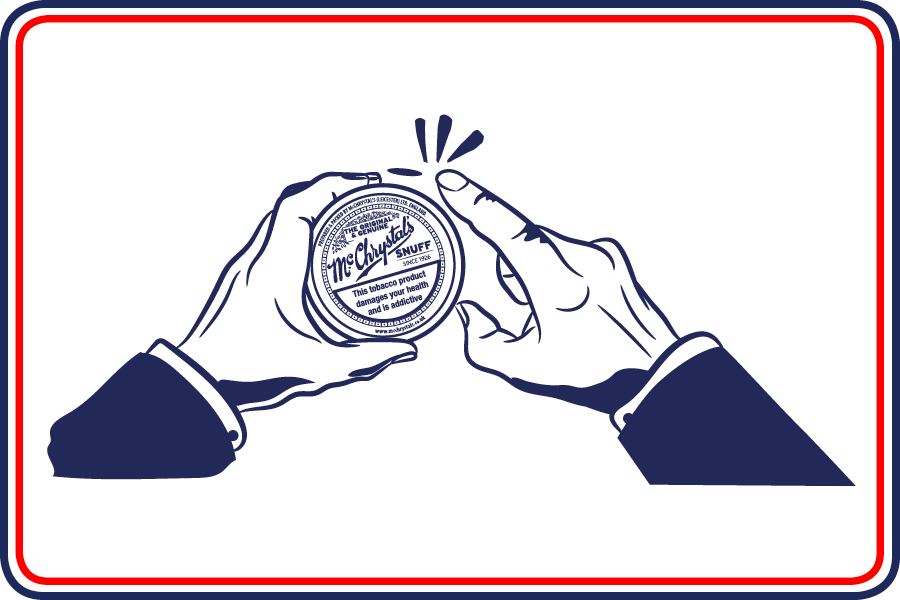 Cartoon of man tapping McChrystal's Snuff tin