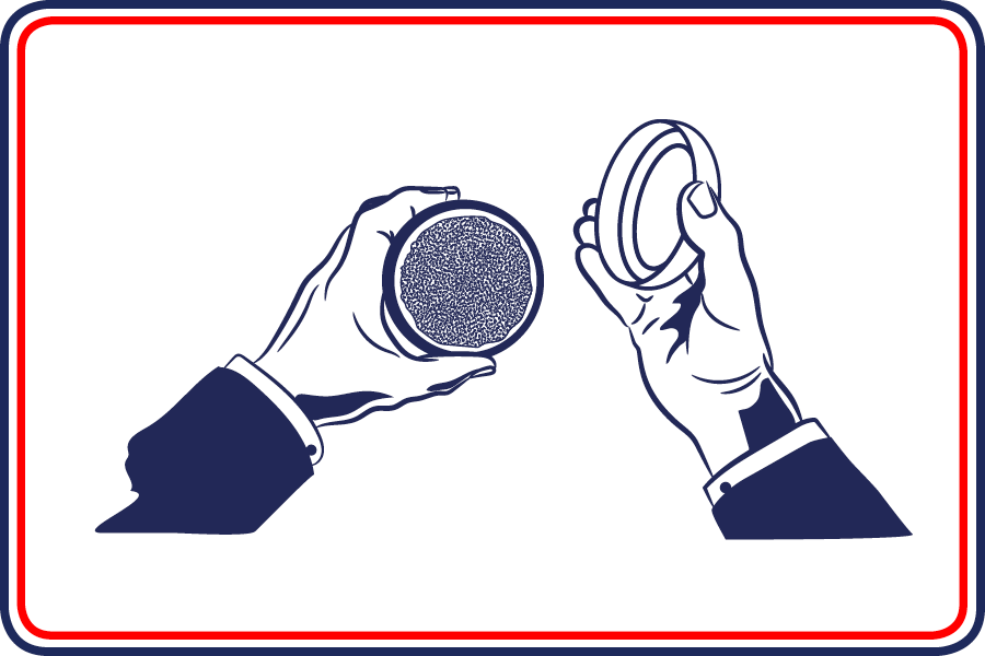 Cartoon of man holding open McChrystal's Snuff tin