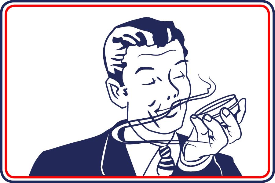 Cartoon of man smelling open McChrystal's Snuff tin