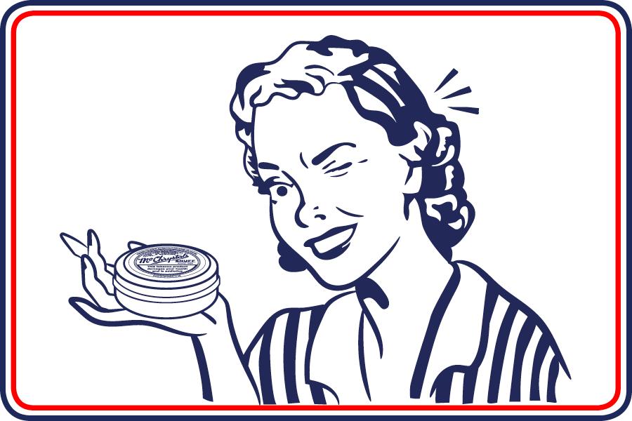 Cartoon woman holding McChrystal's Snuff tin