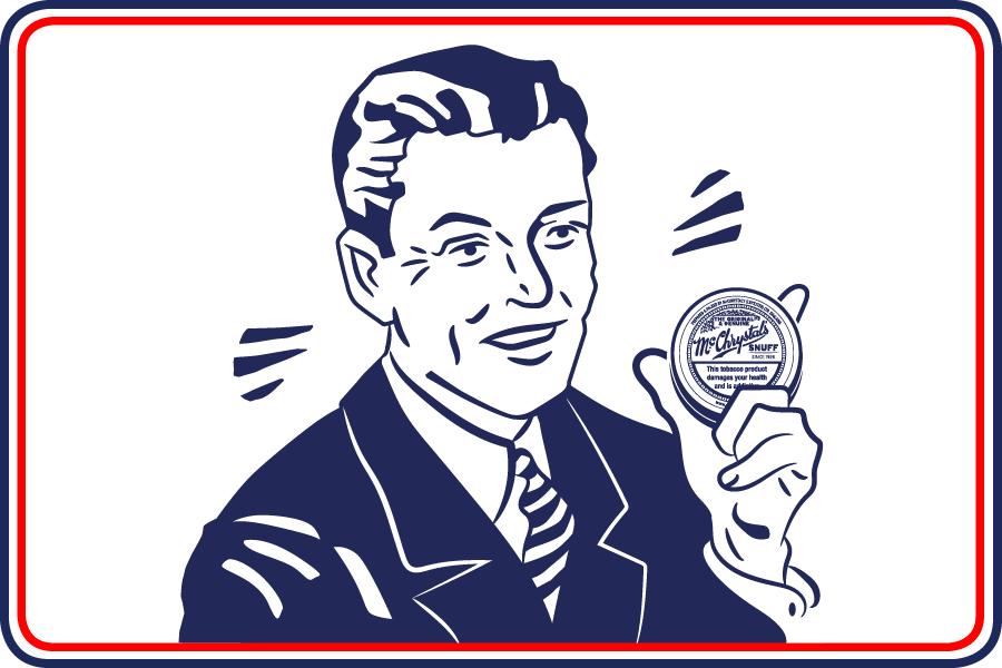 Cartoon of man holding McChrystal's Snuff tin
